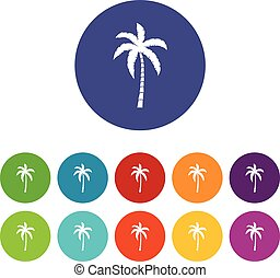 Palm tree set icons