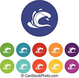 Water wave splash set icons
