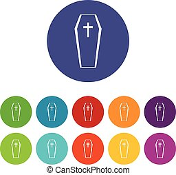 Coffin set icons in different colors isolated on white...