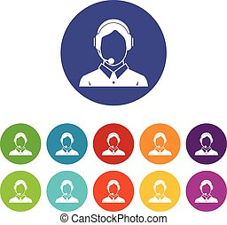 Client services , phone assistance set icons