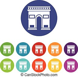 Triumphal arch set icons in different colors isolated on...