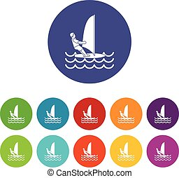 Man on windsurf set icons in different colors isolated on...