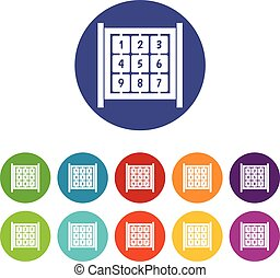 Cubes with numbers on playground set icons