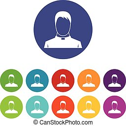 Priest set icons in different colors isolated on white...