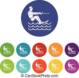 Water skiing man set icons in different colors isolated on...