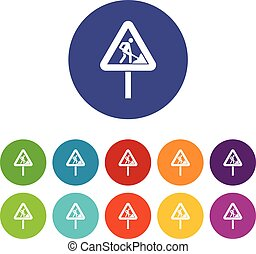 Road works sign set icons
