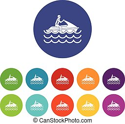 Man on jet ski rides set icons in different colors isolated...
