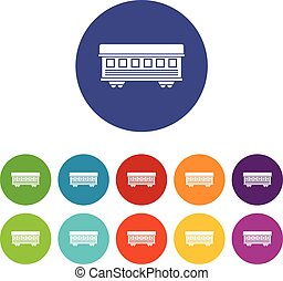 Passenger train car set icons in different colors isolated...