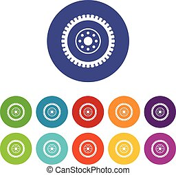 Gear wheel set icons in different colors isolated on white...