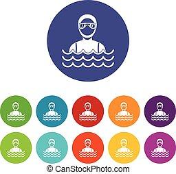 Scuba diver man in diving suit set icons