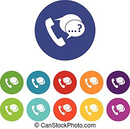 Phone sign and support speech bubbles set icons - Phone sign...