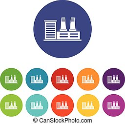 Power plant set icons in different colors isolated on white...