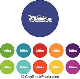 Rally racing car set icons in different colors isolated on...