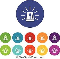 Flashing emergency light set icons