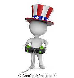 3d Cartoon Uncle Sam character plays a videogame with...