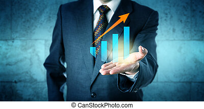 Manager Offering Growth Chart With Upward Trend - Manager in...
