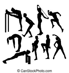 Silhouettes of Girl Stretching And Exercise, art vector...