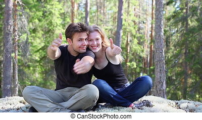 Young happy couple outdoors