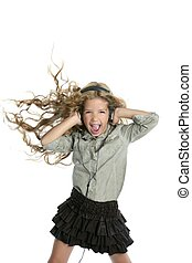 little blond girl  jumping  with a funny gesture