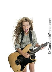 little blond girl playing guitar