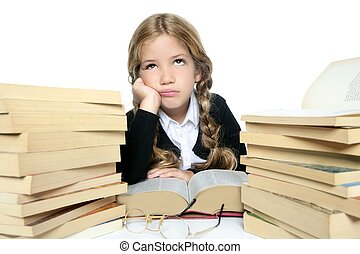 little blond girl thinking with books