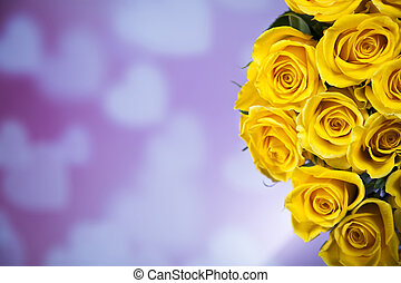 Natural background of fresh roses - Valentine's day concept