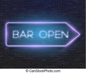 Vector Neon Frame Vintage Bar Sign Icon