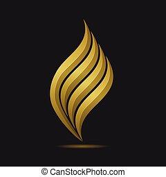 Fire logo template - Golden Fire logo template. Metal gas or...