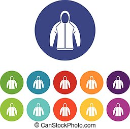 Sweatshirt set icons in different colors isolated on white...