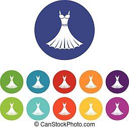 Dress set icons in different colors isolated on white...