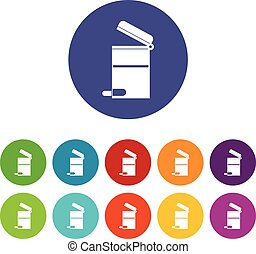 Steel trashcan set icons in different colors isolated on...