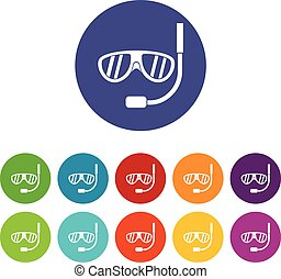Swimming mask set icons in different colors isolated on...