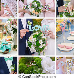 Wedding collage bride groom, attributes of the bouquet and...