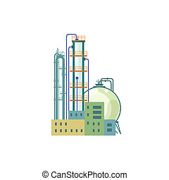 Industrial Chemical Plant Isolated on White Background,...