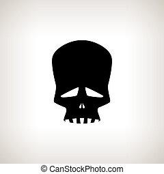 Sad Skull on a Light Background - Sad Skull, Silhouette...