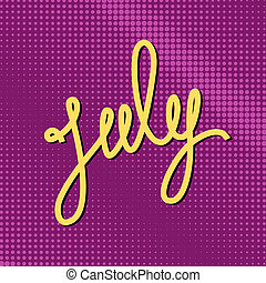Text July on Purple Pop Art Background - Text July on Pop...