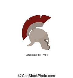 Antiques Greek Helmet Isolated on White - Antiques Roman or...