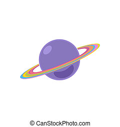 Planet Saturn Isolated on White Background, Illustration