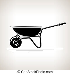Silhouette a Wheelbarrow on a Light  Background