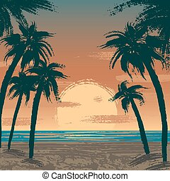 Venice beach, Los Angeles - Illustration of sunset at Venice...