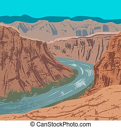 Grand Canyon National Park - Illustration of Grand Canyon...