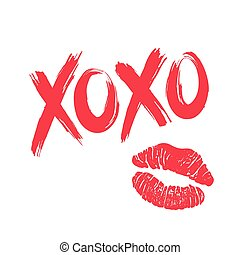 XOXO and lipstick kiss - XOXO hugs and kisses brush...