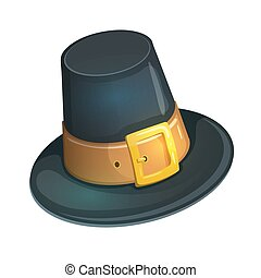 Cartoon pilgrim hat - Colorful cartoon illustration of...