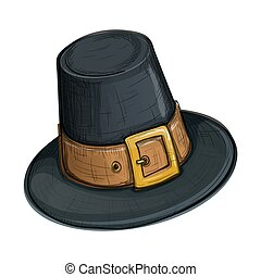 Colorful sketch style pilgrim hat - Colorful sketch style...