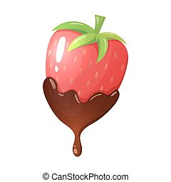 Cartoon illustration of strawberry in chocolate - Colorful...