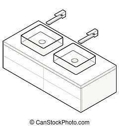 Bathroom sink. Isometric basin with tap. Outlined interior...