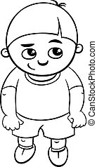 preschool boy coloring page - Black and White Cartoon...