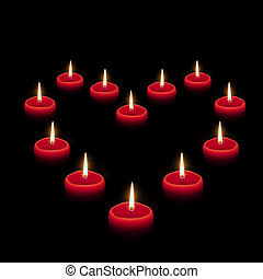 Heart of candles - Heart symbol composed of burning red...