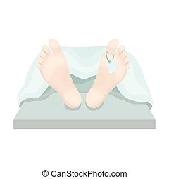 Deceased with tag icon in cartoon style isolated on white...