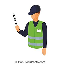 Parking attendant icon in cartoon style isolated on white...